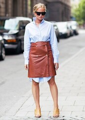 dress,shirt dress,blue shirt,isabel marant,tumblr,pinterest,pinterest outfit,brown skirt,black sunglasses,midi leather skirt,isabel marant dress,skirt,leather,leather skirt,tumblr outfit,shirtdress
