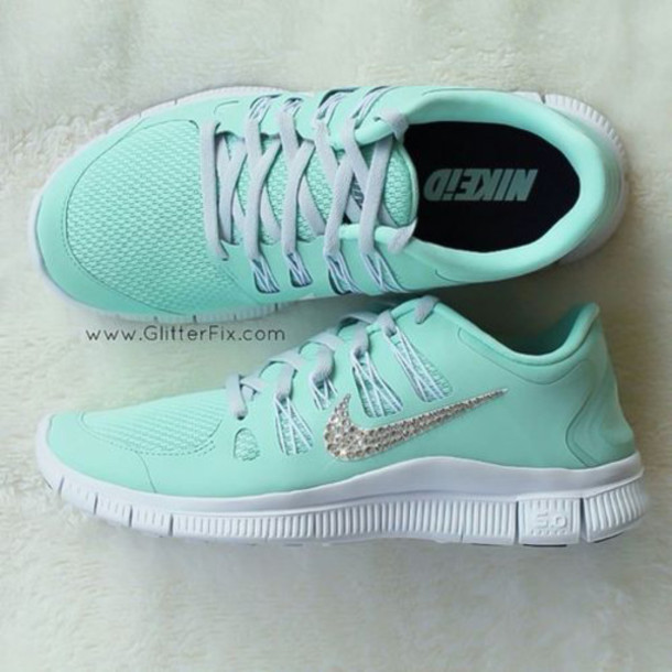 sports shoes e5ef4 b22bc shoes türkis nike nike free run glory mint tiffany nikes nike running  shoes sneakers rhinestones nike