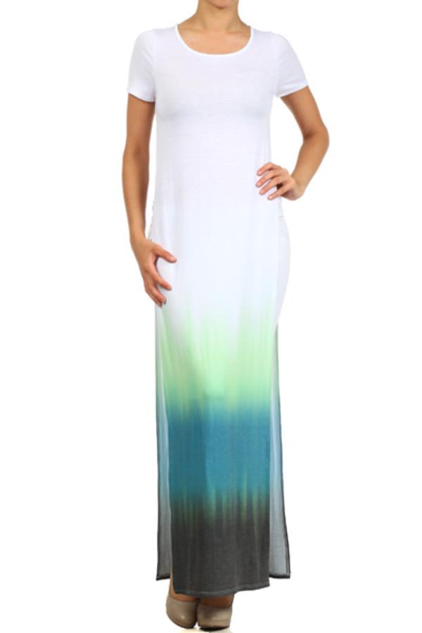 slit dress t-shirt dress t-shirt maxi dress short sleeve high split ombre bleach dye slit dress summer outfits