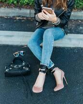 shoes,tumblr,velvet,velvet shoes,pumps,pink heels,high heels,denim,jeans,blue jeans,skinny jeans,bag,black bag,sunglasses,dior sunglasses
