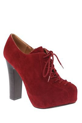 Qupid Theron Red Suede Bootie - 733189 on Wanelo