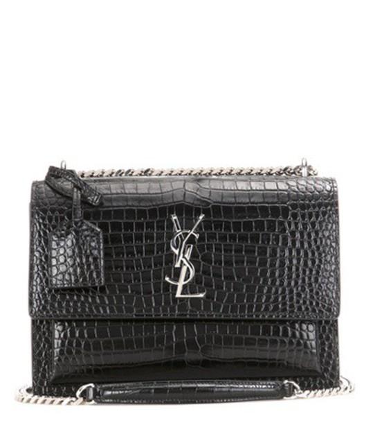 Saint Laurent Sunset Monogram Medium embossed leather shoulder bag in black
