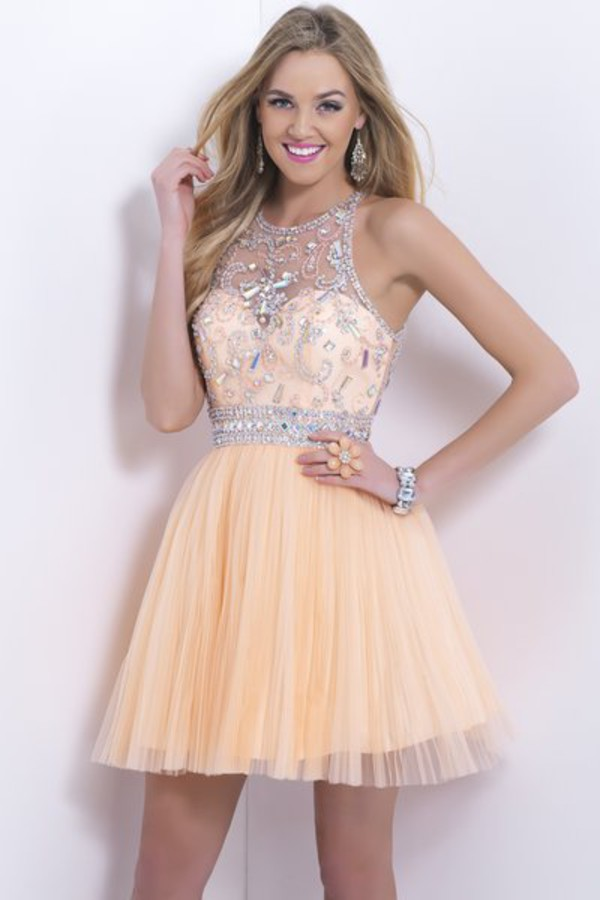 crystal dress homecoming dress cocktail dress tulle dress ball gown dress prom dress prom dress dress peach dress graduation dress sparkly dress high heels yellow dress diamonds