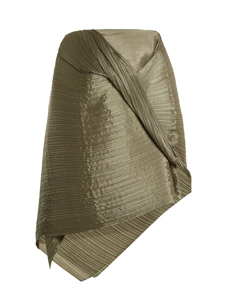 PLEATS PLEASE ISSEY MIYAKE pleated scarf khaki