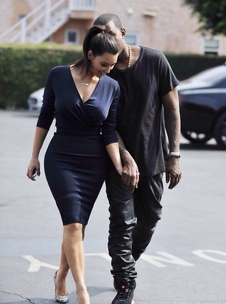 dress navy dress v neck dress kim kardashian dress