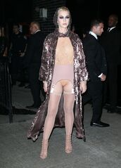 coat,sequins,top,bodysuit,nude,sandals,tights,katy perry,met gala,met gala 2017,underwear