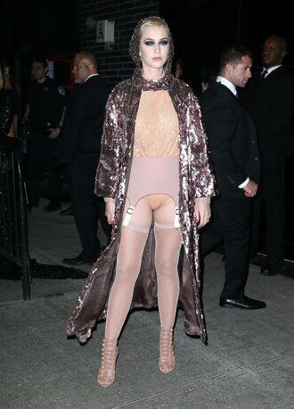coat sequins top bodysuit nude sandals tights katy perry met gala met gala 2017 underwear