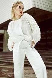 pants,blouse,rita ora,white,white blouse,all white everything,celebrities in white