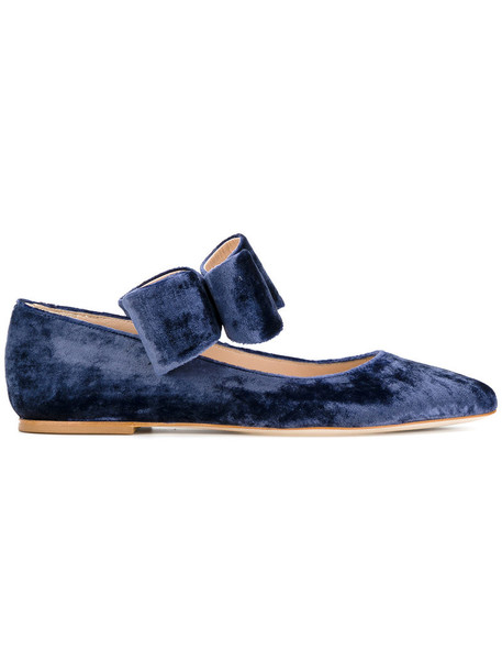 Polly Plume bow women leather silk velvet purple pink shoes