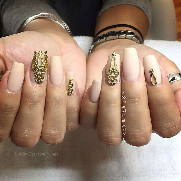 nail accessories, gold, nails, nail art, designer nails, nail ...