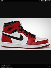 shoes,air jordan,air force 1's,red,black,white,high tops