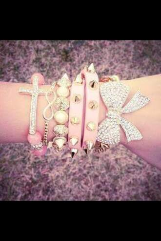 jewels jewelry bracelets stacked bracelets arm candy arm party infinity bow pretty bling
