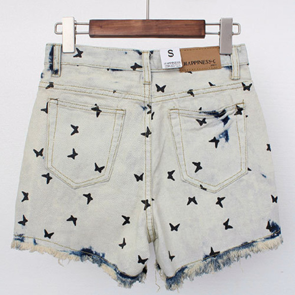 pants fashion clothes denim shorts birds hipster