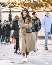coat,trench coat,long coat,sneakers,cropped pants,crossbody bag,mini bag,sunglasses,black blouse