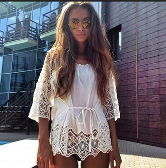 blouse white shirt lace crop sheer chiffon shirt blouse pretty amazing summer spring cute nice perfect sunglasses dress swimwear