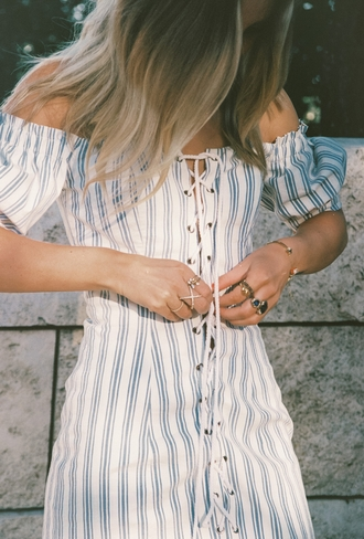 dress tumblr striped dress off the shoulder off the shoulder dress lace up stripes jewels jewelry gold jewelry ring bracelets gold bracelet accessories accessory