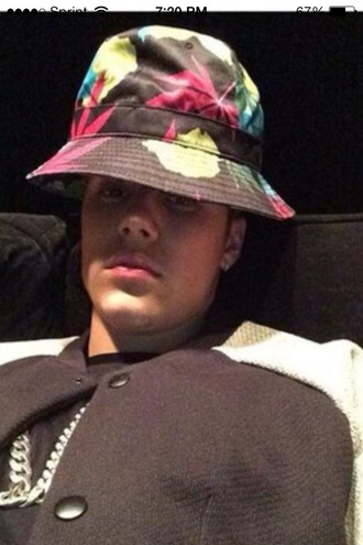 weed marijuana mary jane pot leaf pot hat marijuana hat belieber multicolor so many weed justin bieber bucket hat