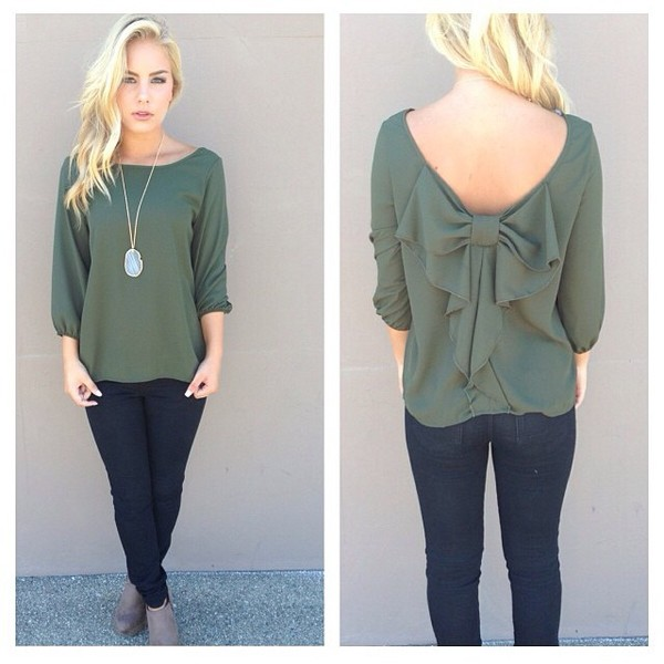 blouse green bow back ruffle