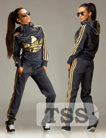 adidas zipper jumpsuit logo gold 3 stripes tracksuit outfit outwear hood swag