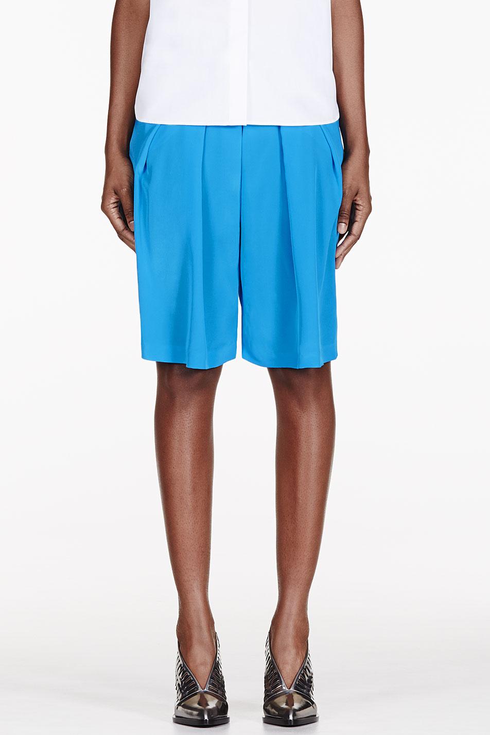 altuzarra blue pleated poet shorts