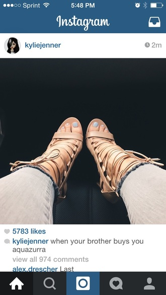 shoes aquazurra heels ankle heels kylie jenner strappy sandals nude high heels high heels