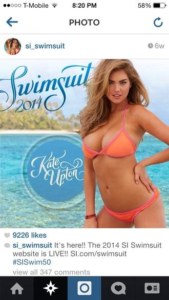 swimwear kate upton summer pink orange swimwear cute sporty