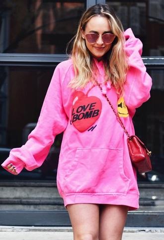 shirt pink sweatshirt sweater cherry emoji print red yellow black sunglasses handbag purse bag