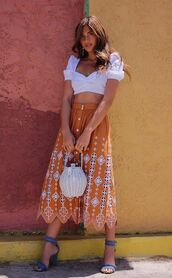top,sandals,sandal heels,skirt,midi skirt,rocky barnes,blogger,blogger style,instagram,purse,summer,summer outfits,crop tops,white top