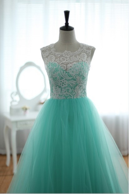 Lace tulle wedding dress prom ball gown blue tulle by for Turquoise and white wedding dresses