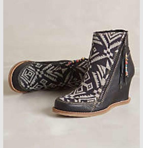 wedge heel bootie aztec boot