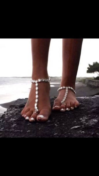 jewels shoes cute boho love tumblr outfit beaded style cute sandals barefoot sandals beach toe shoes toe