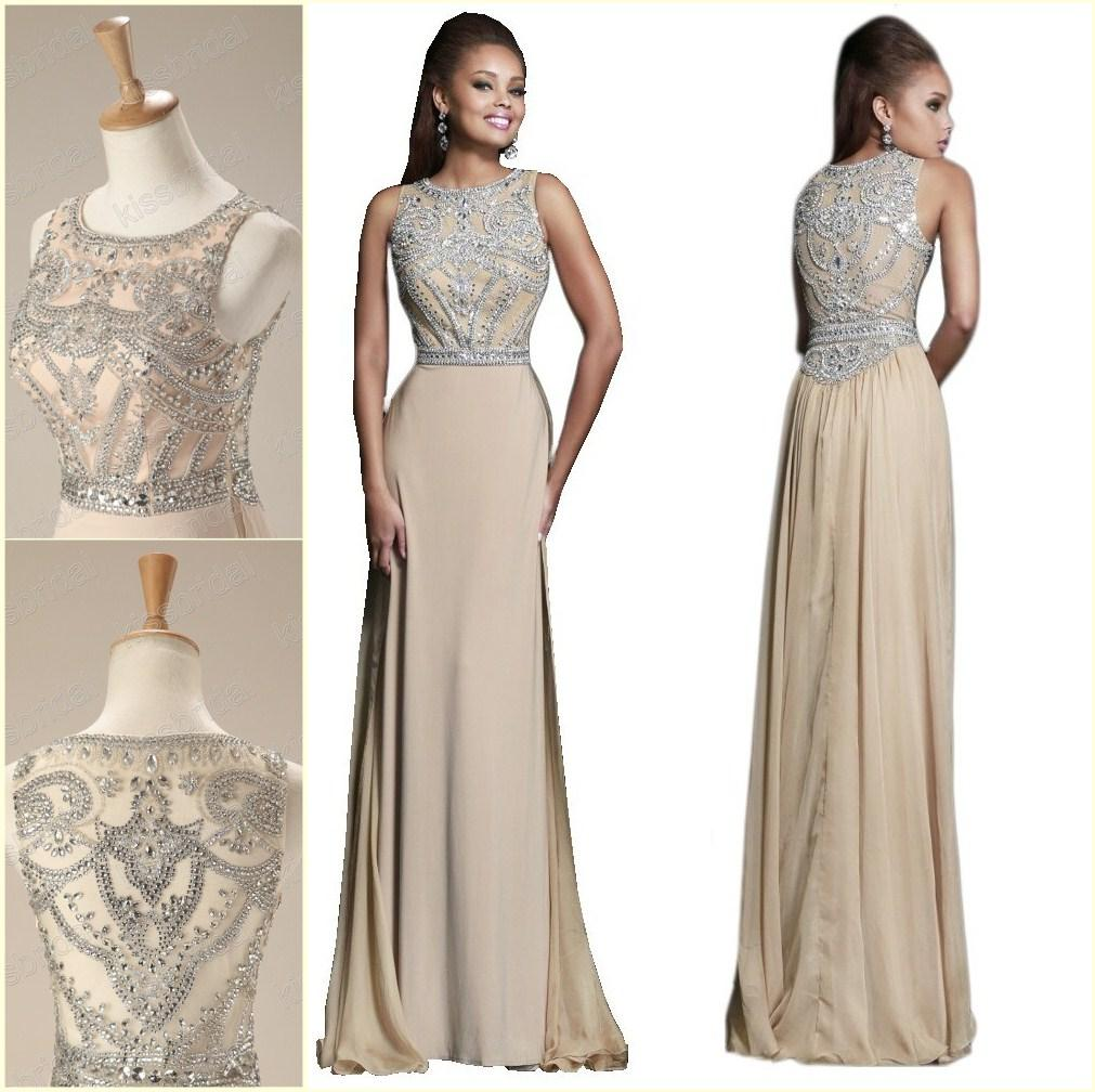 Discount 2014 Distinctive Rhinestone Beaded Prom Dresses Crew Neck Sleeveless Beading Bodice A-Line Floor-length In Stock Formal/Evening Gowns Online with $146.52/Piece | DHgate