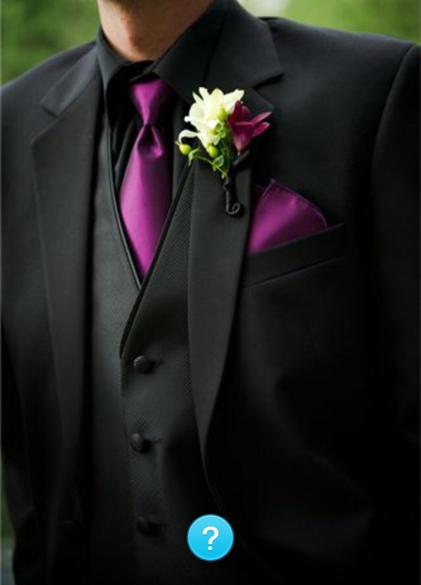 Coat: purple and black tux, black silky tux, all black everything ...