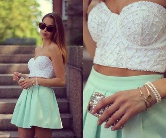 skirt skater skirt mint skirt pleats shirt crop tops white pearl