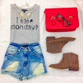 jeans,high waisted denim shorts,casual,boots,glasses,red purse,gold chain,shirt,shoes,blouse,shorts