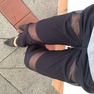 mesh stripes slim skinny pants string