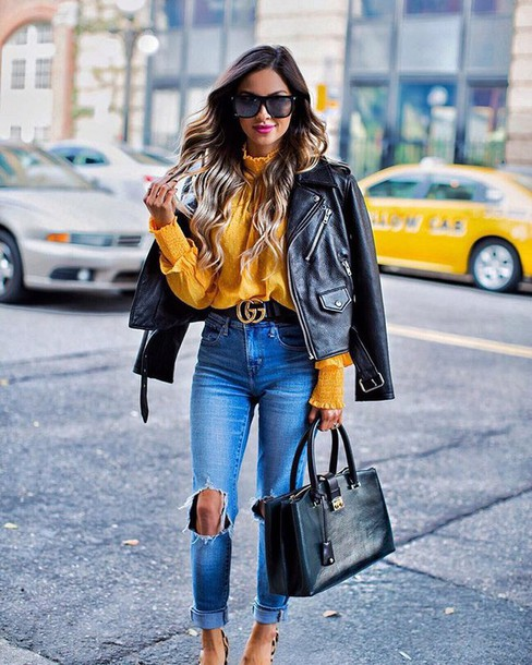 f367e7a1aaf blouse tumblr yellow yellow top leather jacket black leather jacket black  jacket jacket denim jeans blue