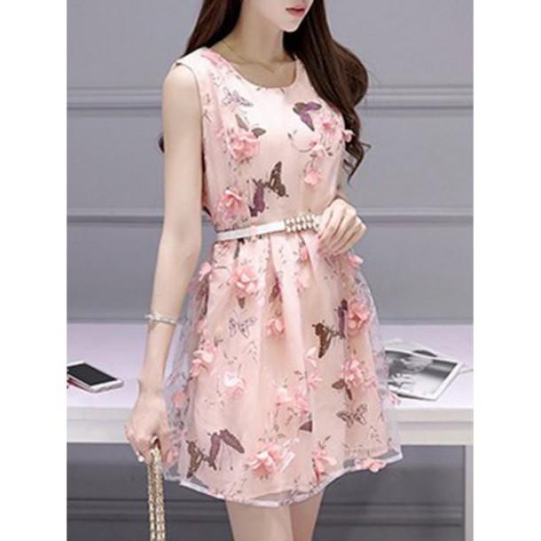 Dress Pink Floral Fashion Style Romantic Summer Dress Girly Feminine