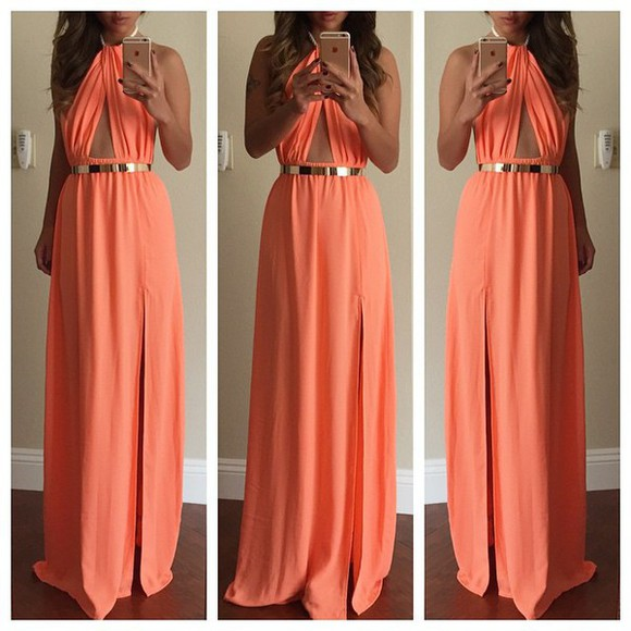 coral coral pink summer dress long dress traingle cutout.