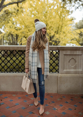 the teacher diva blogger dress skirt shoes tank top top coat sweater scarf hat jeans jacket cardigan fall outfits beanie pumps handbag beige coat