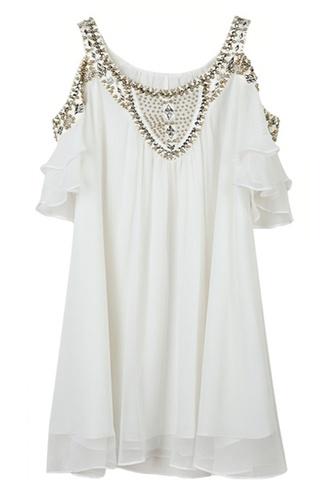 dress white dress homecoming dress semi-formal glitz cute cut-out white flowy