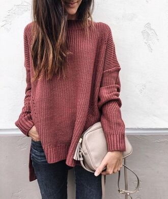 sweater tumblr asymmetrical asymmetrical top pink sweater bag nude bag tassel jeans denim fall outfits