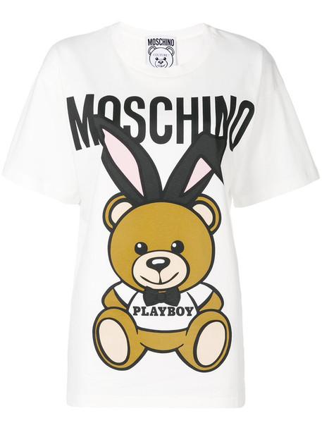 Moschino t-shirt shirt t-shirt bear women white cotton top