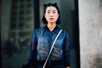 jacket fashion week street style fashion week 2016 fashion week paris fashion week 2016 blue jacket hairstyles tumblr make-up streetstyle
