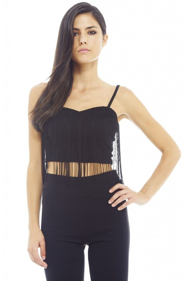 top black top black crop top black tassels tassel crop sweetheart neckline spaghetti straps crop www.ustrendy.com