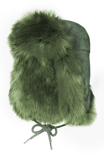 Charlotte Simone Fashion Helmet Hat in Faux Fur  in green