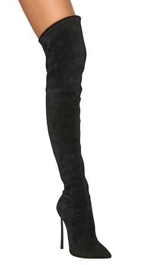 Free shipping black over knee women boots,pointed toe thigh high boots,suede leather elastic high heel boots