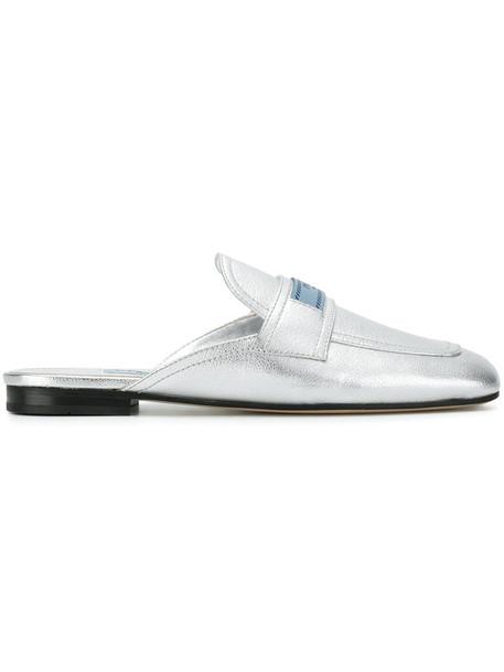 Prada women mules leather grey shoes