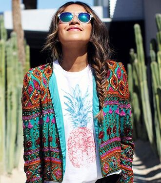 jacket sunglasses colorful t-shirt pineapple print hair style