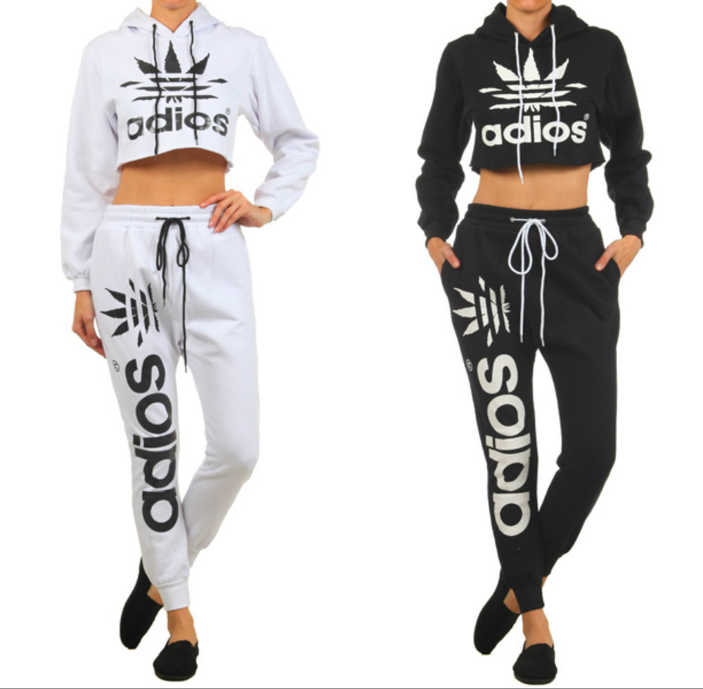 Shopaholicfashionistas — new! trendy adios crop top hoodie & joggers sweatpants set